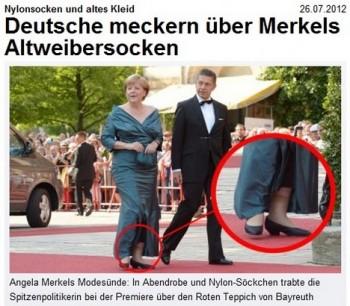 Faux pas mezi snoby v Bayreuthu: Merkelová ve starých šatech a nylonkách