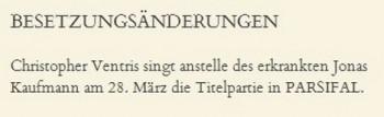 Kaufmann onemocněl, ve Vídni museli do Parsifala hledat náhradníka