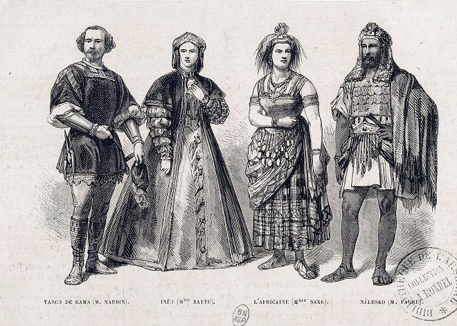 protagonisté premiéry Afričanky v roce 1865 - Emilio Naudin (Vasco da Gama), Marie Battu (Ines), Marie Sasse (Sélika) a Jean-Baptiste Faure (Nélusko)