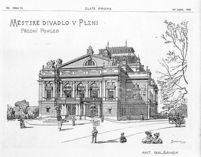 Hlavní pohled, návrh na budovu divadla od Antonína Balšánka, 1897 (foto www.theatre-architecture.eu/Zlatá Praha, XV roč.1898)