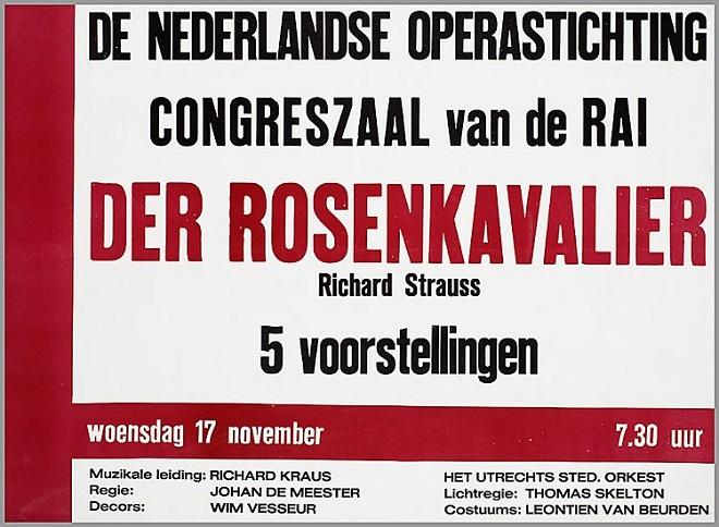 De Nederlandse Operastichting - Der Rosenkavalier - 17.11.1965 - cedule k představení