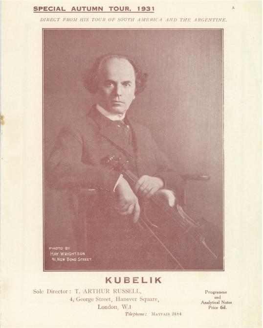 Program Kubelíkova podzimního anglického turné v roce 1931
