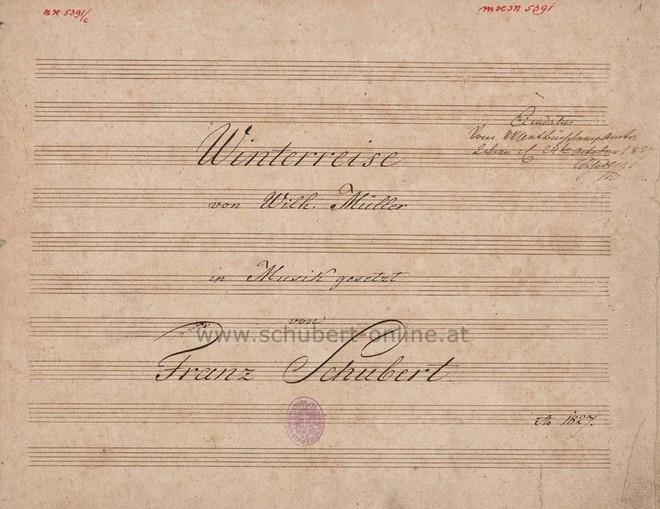 úvodní strana partitury Winterreise od Franze Schuberta (zdroj www.schubert-online.at)