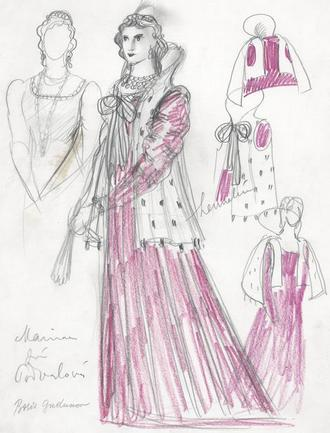 Karel Svolinský - návrh kostýmu pro Marinu Mníškovou -M.P.Musorgskij, Boris Godunov - ND Praha 1945 (foto archiv ND)
