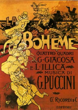 G.Puccini: La bohème - plakát premiéry v roce 1896 (foto archiv)