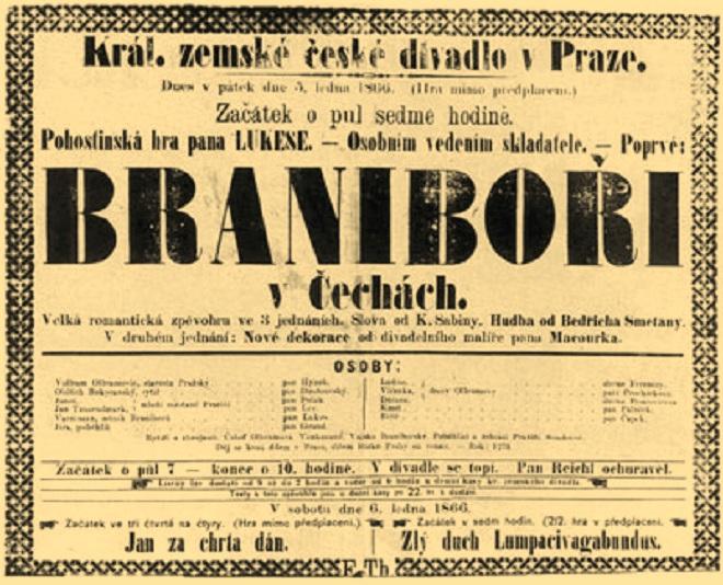 B. Smetana: Braniboři v Čechách - premiérové cedule z roku 1866 (foto archiv)