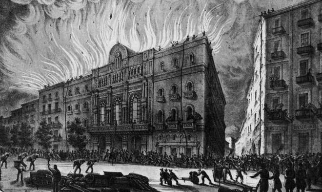 požár v Gran Teatre del Liceu (1861) (zdroj wikimedia)