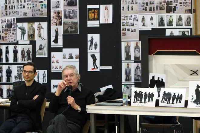 ze zkoušek Srnkova Jižního pólu v Bavorské státní opeře: skladatel Miroslav Srnka a režisér Hans Neuenfels (foto Bavorská státní opera)