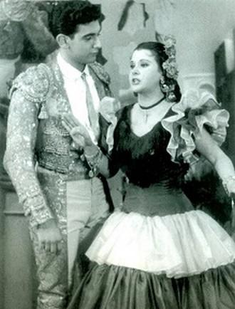 Plácido Domingo jako Rafael v opeře El gato montés (1958, Mexico City) a Rosa Maria Montes (zdroj wikipedia)