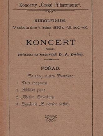 Program zahajovacího koncertu 4. ledna 1896 (foto archiv ČF)