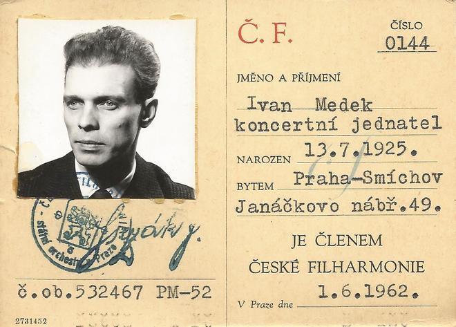 Ivan Medek - zaměstnanecká průkazka v ČF