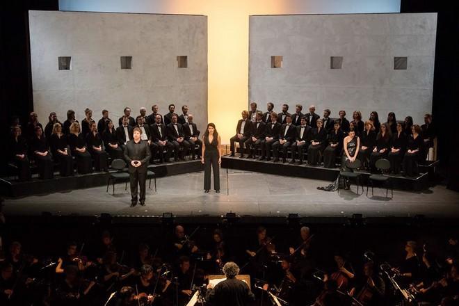 Wolfgang Amadeus Mozart :Indomeneo, re di Creta - Jeremy Ovenden (Idomeneo), Gaëlle Arquez (Idamante), Alex Penda (Elettra), Arnold Schoenberg Chor - Theater an der Wien (foto Herwing Prammer)
