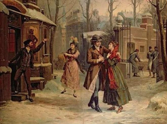 G.Puccini: La bohème - scéna Rudolfa a Mimi ze 3. dějství (ilustrace Luigi Morgari - foto archiv)