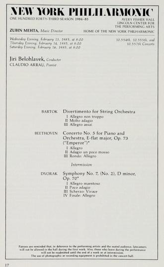 program koncertu Jiřího Bělohlávka s Newyorskou filharmonií 13.2.1985 (foto archiv)