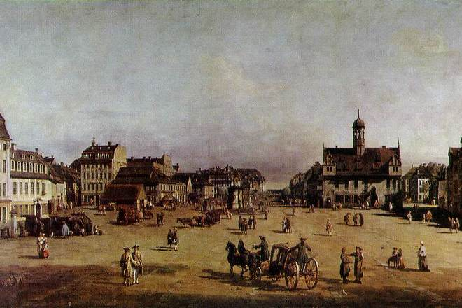Novoměstský trh v Drážďanech - Bernardo Bellotto 1750 (foto artchive.com)