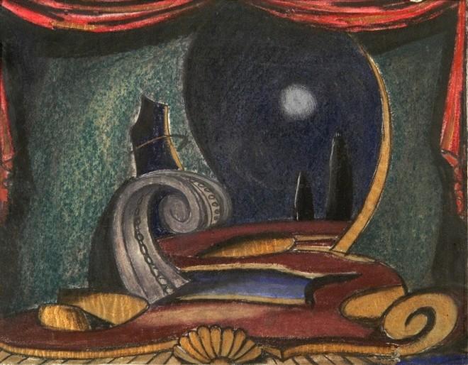 Wolfgang Amadeus Mozart: Don Giovanni - návrh scény Josef Svoboda - Státní divadlo Ostrava 1949 (zdroj vis.idu.cz)