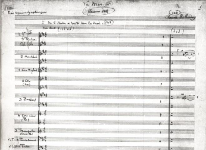 Notový zápis - Claude Debussy: Moře (foto debussy.fr)