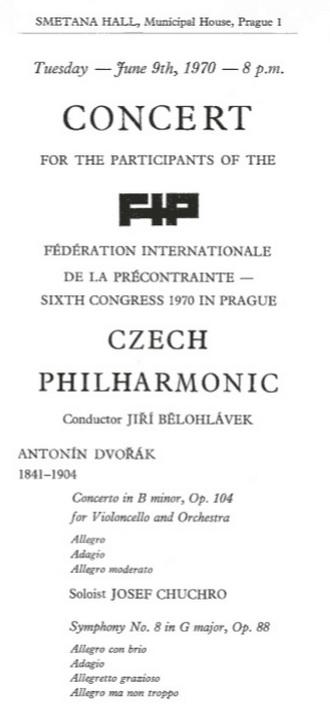 program prvního koncertu Jiřího Bělohlávka s Českou filharmonií - 9.6.1970 Praha (zdroj archiv ČF)