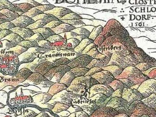 první známé zobrazení Krakonoše na mapě Slezska od Martina Helwiga z roku 1561 (foto archiv)