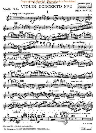 Béla Bertók: Houslový koncert č.2 - notový zápis (foto archiv)