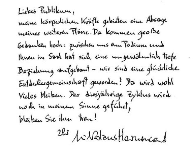 Dopis Nikolause Harnoncourta na rozloučenou s publikem (foto archiv)