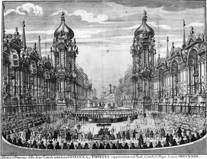 Jiří Hilmera: Celkový polhed - vyobrazení divadla, zřízeného na Pražském hradě r. 1723 k provedení opery (zdroj theatre-architecture.eu)