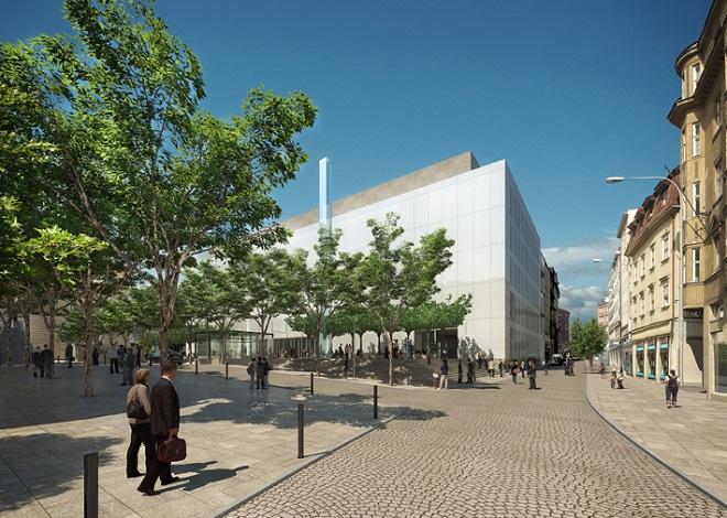 Janáčkovo kulturní centrum Brno - vizualizace - pohled z ulice Veselá (zdroj atelierm1.cz)