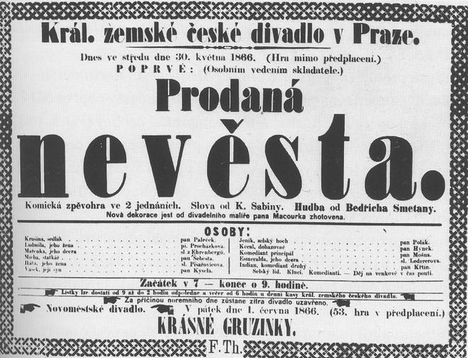 Plakát k premiéře Prodané nevěsta 30. května 1866 (zdroj commons.wikimedia.org)