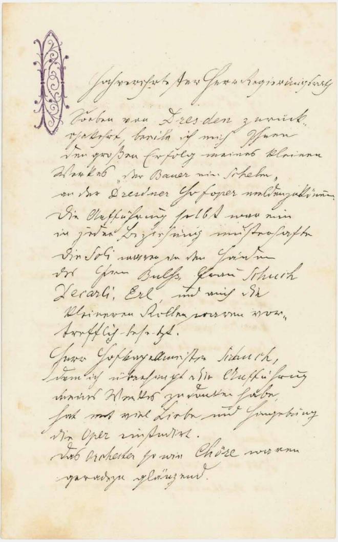 Dopis Antonína Dvořáka rakouskému hudebnímu kritikovi a estetikovi Eduardu Hanslickovi (zdroj aukční katalog stargardt.de)