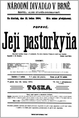 Leoš Janáček: Její pastorkyňa (1904) - plakát (foto archiv ND Brno)