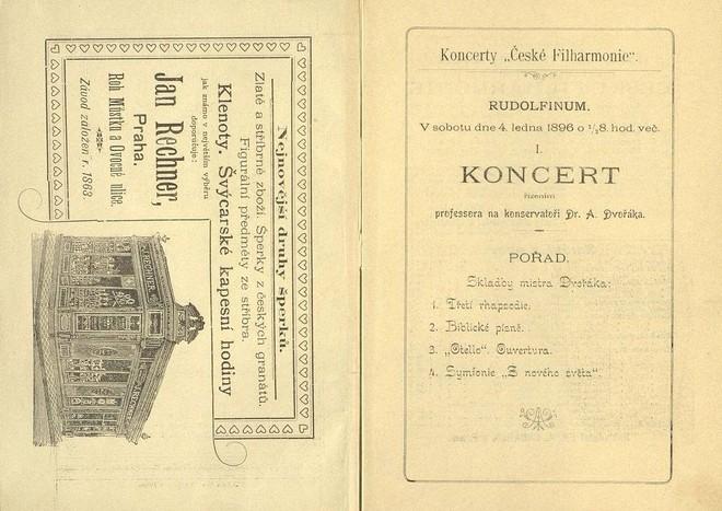 Program prvního koncertu České filharmonie i s dobovou reklamou (foto archiv České filharmonie)