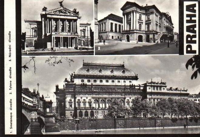dobová pohlednice tří divadel, náležících pod správu Národního divadla - 70. léta 20. století (zdroj archiv)