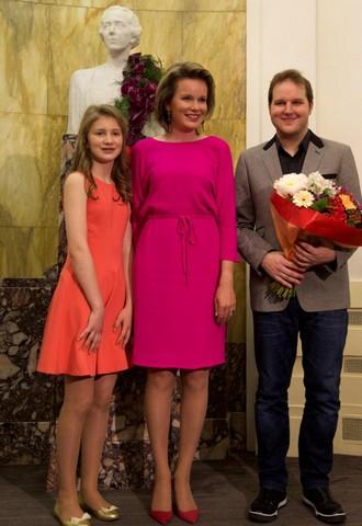 Princezna Elisabeth, belgická královna Mathilde a Lukáš Vondráček (foto FB soutěž Královny Alžběty/Hugo de Pril)