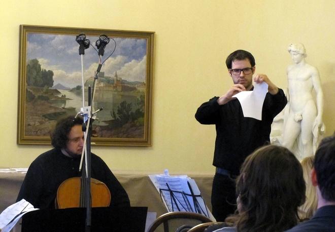 Kompozičné laboratórium - Inšpirácia tvorbou Bohuslava Martinů - Andrej Gál, Roman Rusňák - Bratislava 15.6.2016 (foto Robert Rytina)