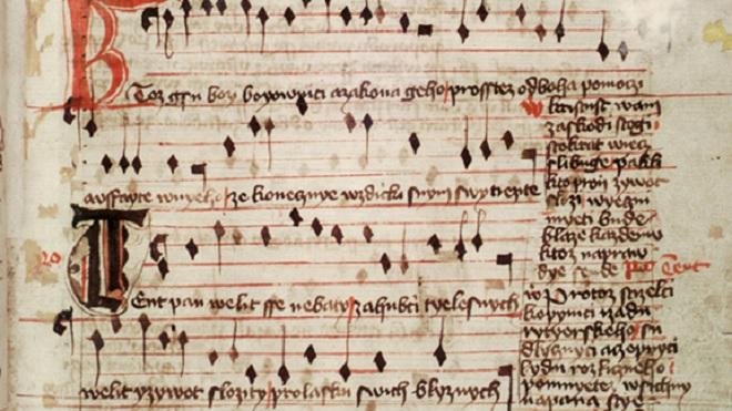 Jistebnický kancionál – detail písně Kdož jsú boží bojovníci - sloka 1-4 (foto Národní muzeum)