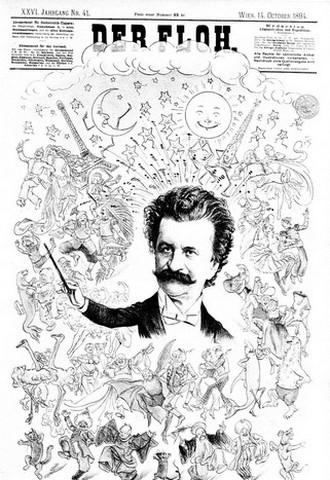 Karikatura k 50. výročí umělecké činnosti Johanna Strausse (Der Floth, 14.10.1894) (foto archiv autorky)