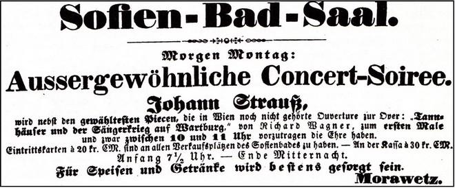 Anonce koncertu Straussovy kapely (foto archiv autorky)