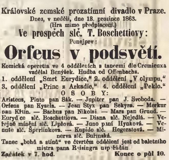 Upoutávka v novinách na Orfea v podsvětí v Prozatímním divadle v Praze 13. 12. 1863 (foto archiv autorky)