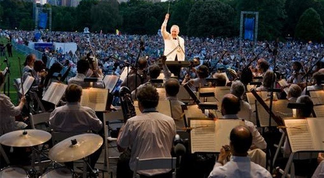 Newyorská filharmonie pod taktovkou Zubina Mehty - Central Park New York 1986 (foto archiv)