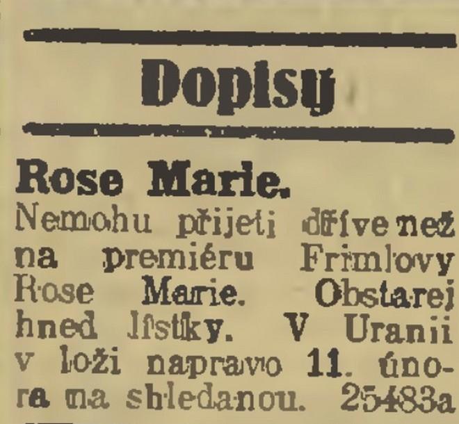 Inzerát z Národních listů, 8.2.1928 (foto archiv autorky)