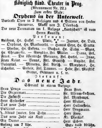 Novinová anonce prvního provedení Orfea v podsvětí v Praze - Bohemia, 31.12.1859 (foto archiv autorky)