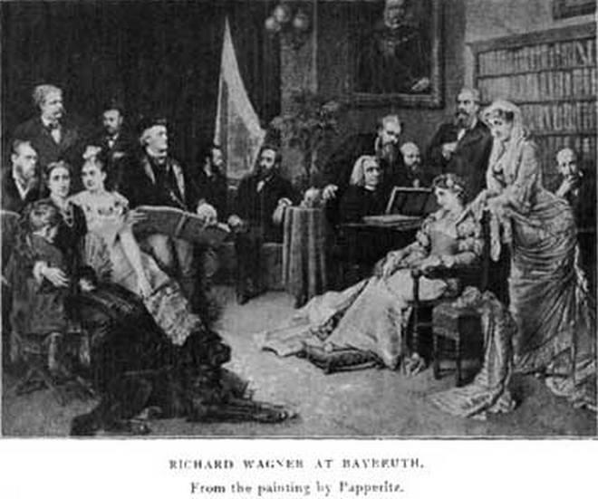 Rodina Wagnerů s hosty při prvním ročníku Bayreutského festivalu v roce 1876 - Richard Wagner (vzadu třetí zleva), jeho manželka Cosina se synem Siegfriedem (s objímající paží, zcela vpředu vlevo), Ferenc Liszt (za klavírem) (zdroj en.wikipedia.org)