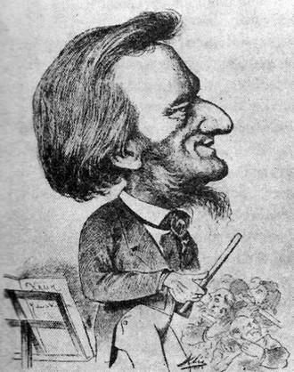 Richard Wagner - karikatura Karla Klíče zveřejněná ve vídeňském časopisu Humoristische blaetter (zdroj commons.wikimedia.org)