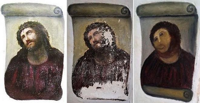 freska Ježíše před a po opravě (zdroj en.wikipedia.org)