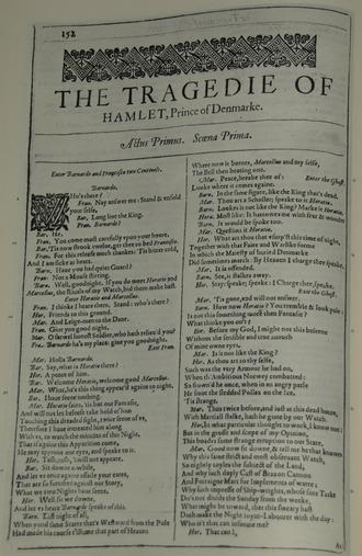 Faksimile první strany Hamleta zvydání roku 1623 (zdroj cs.wikipedia.org)