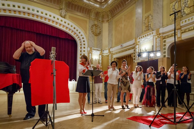 Konvergencie 2016 - Šostakovič 110 / Moc a samota - Peter Mikuláš a zbor ECHO - Moyzesova sieň Bratislava 2016 (foto Peter Drežík)