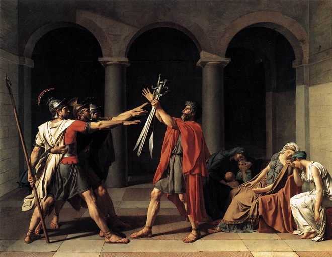 Jacques-Louis David: Le Serment des Horaces - 1784 (foto wikipedia.org)