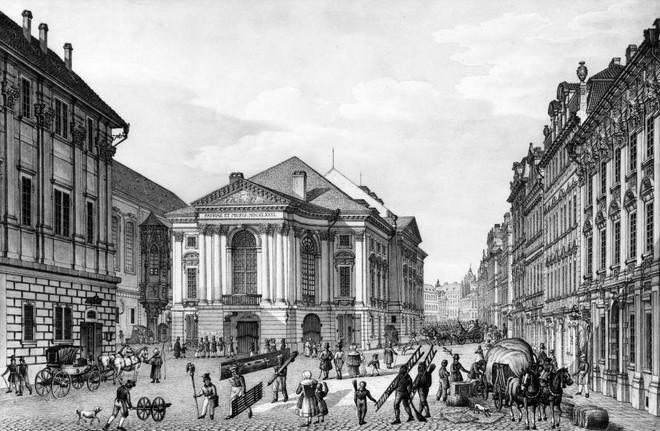 Stavovské divadlo Praha (zdroj theatre-architecture.eu/Jiří Hilmera: Celkový pohled. Vyobrazení Vinc. Morstadt kol. r. 1830. in: J. Hilmera - Česká divadelní)