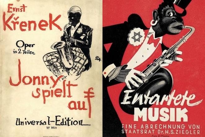 Vľavo titulná strana klavírneho výťahu opery jazzového huslitu Ernsta Křeneka, vydanie z r. 1926; vpravo nacistický poster (foto archív autorky)
