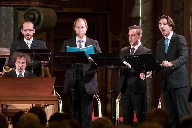Německá moteta - Sebastian Knebel, Jaromír Nosek, Tomáš Král, Tomáš Lajtkep, Vojtěch Semerád - Barokní podvečery 1.12.2016 (foto © Petra Hajská)